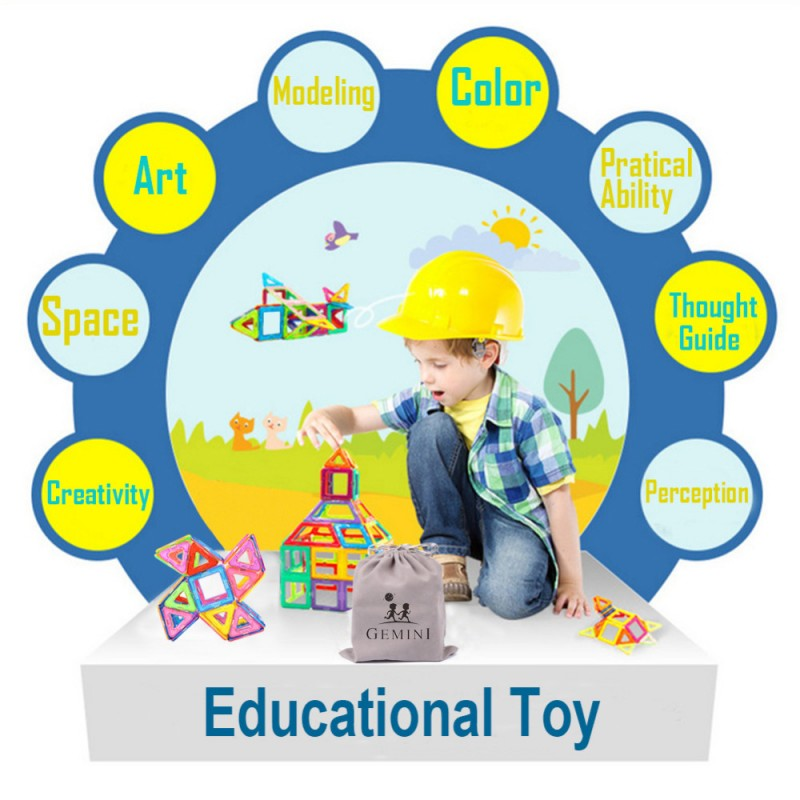 64PCS Kids Magnetic Blocks Construction Enlighten Assembly Building Blocks Toys Kids Educational DIY Plastic Technic Brick